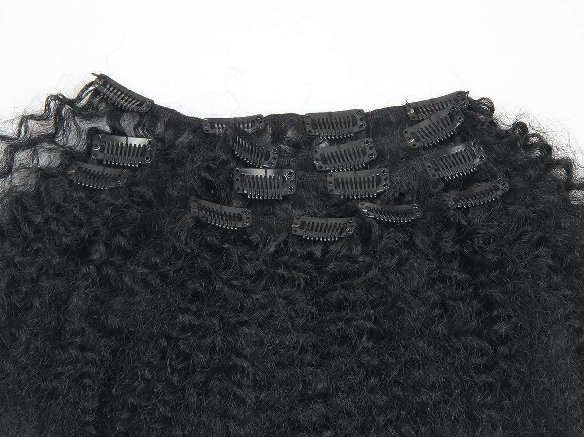 """8""""-18"""" Clip in 100% Human Extensions Afro Kinky Curly ins"""