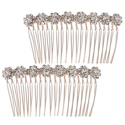 8 flower hairpin combs crystal