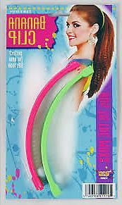 80s Banana Hair Clips Retro Accessory 2 Pack