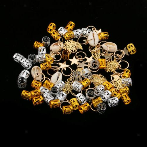 84pcs Dreadlock Braid Rings Clips Accessories