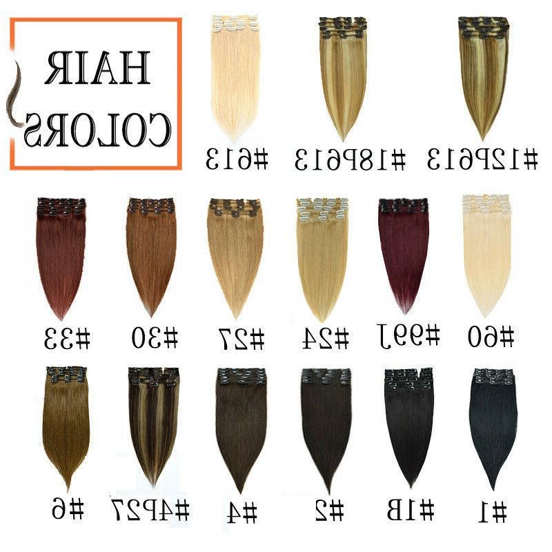 8pcs Hair Clip In Human Hair Full US Black