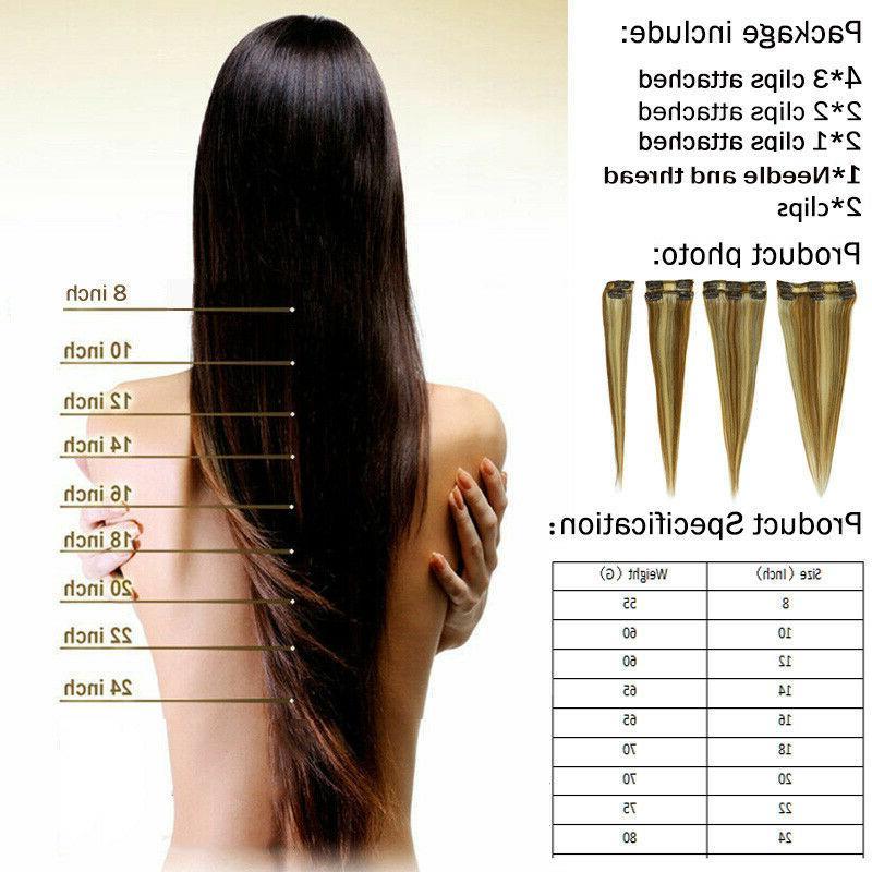100% In Human Hair Extensions 8pcs Head Snap Clip Natural