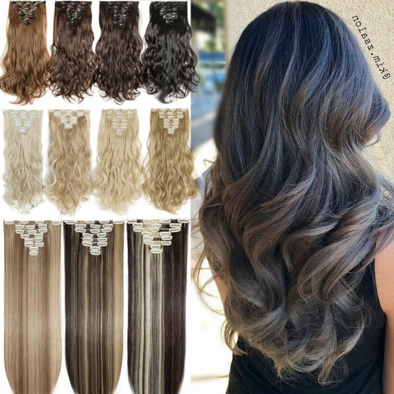 8pcs clip in hair extensions full head