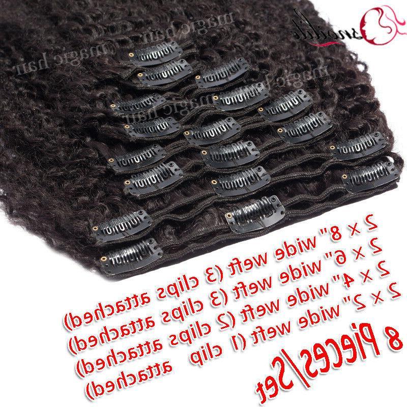 African Kinky Curly Hair Clip In 100% Virgin Human Hair US P303