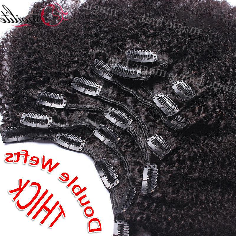 African Afro Curly Hair Clip In 100% Virgin Human Hair US