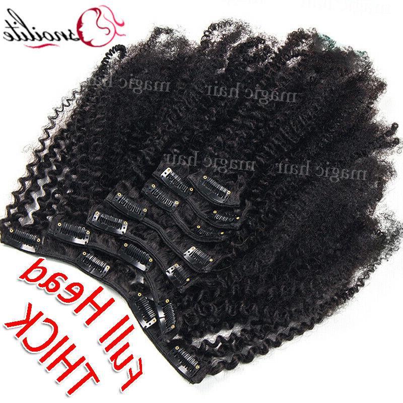 African Kinky Curly Hair Clip 100% Virgin US