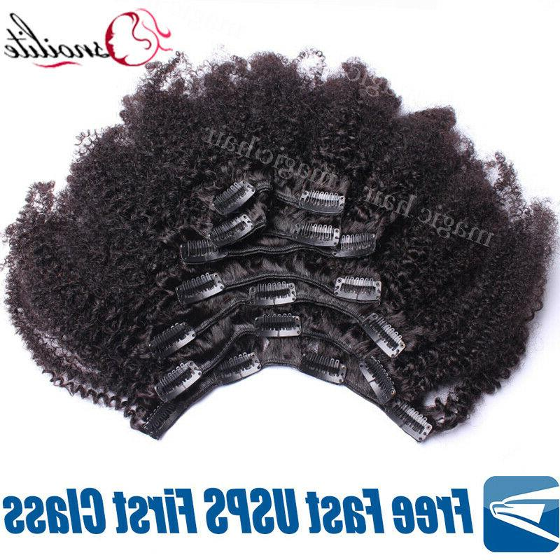 African Afro Curly Hair Clip In 100% Virgin Hair Extensions US