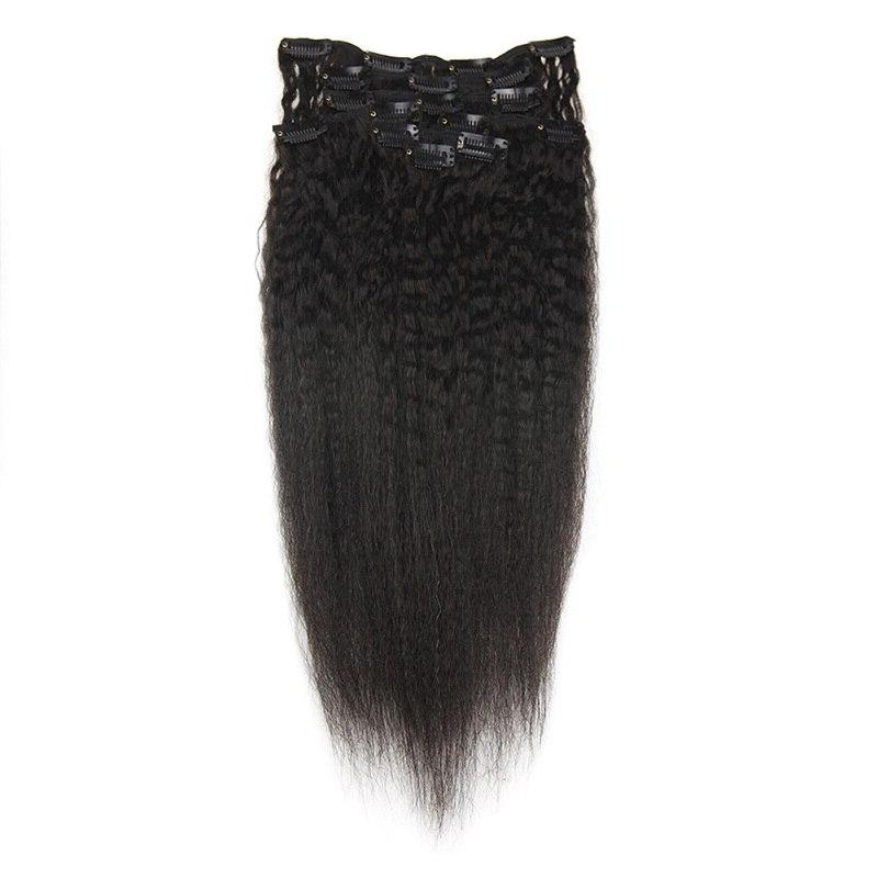 Full Shine <font><b>Clip</b></font> In Extensions 100% Machine Remy HairFor <font><b>Natural</b></font> Pcs