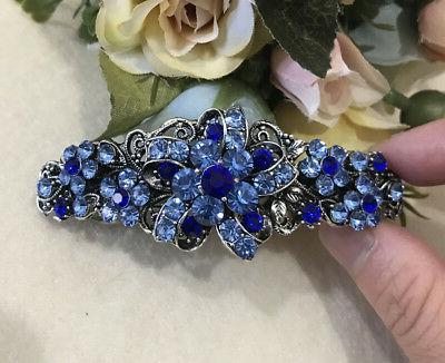 ANtique Silver blue Clip Barrette
