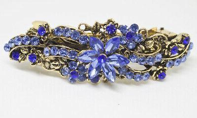 antique silver tone rhinestone blue color metal