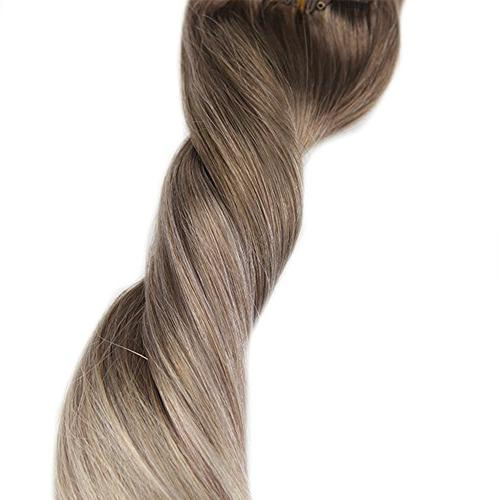 "Fshine 18"" Pcs Balayage Extensions Real Human Color #8 #60 Hair Blonde Balayage Hair Extensions Clip in Human"