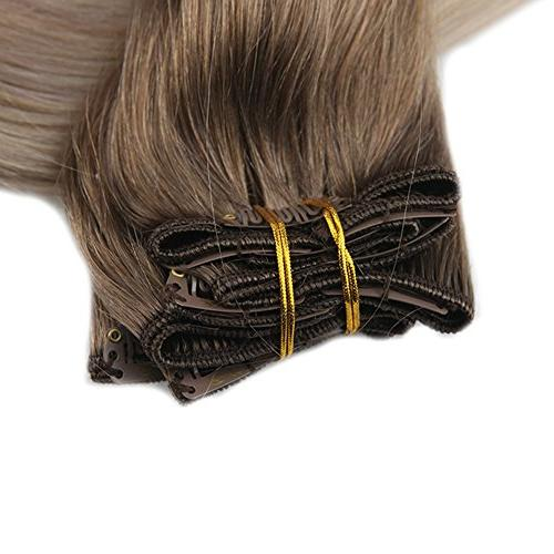 Fshine 10 Pcs Balayage Hair Extensions Real Color #8 Fading to #60 #18 Hair Extensions Remy Human Hair