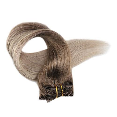"Fshine 18"" Pcs Balayage Extensions Color to #60 Real Hair Balayage Hair Extensions Remy Human"