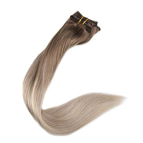 Fshine 100gram Pcs Balayage Extensions Real Hair Color #8 #60 And Hair Blonde