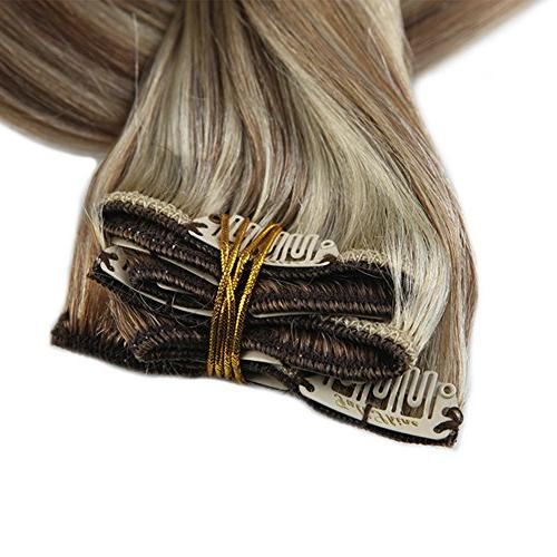 Full Shine 18inch Color and #613 Blonde Highlighted Hair Full Head Real Extensions 9 Pcs 120 Gram