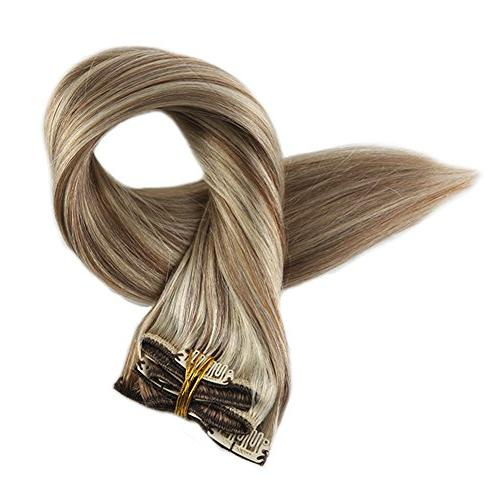 Full Shine in Balayage Hair Extensions Color #10 and #613 Hair Head Clip In Hair Extensions Real 9 Pcs Gram