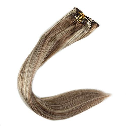 Full in Extensions Color #613 Highlighted Hair Extensions Full Clip In Hair Extensions Real Pcs 120