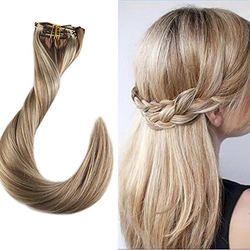 clip balayage hair extensions blonde