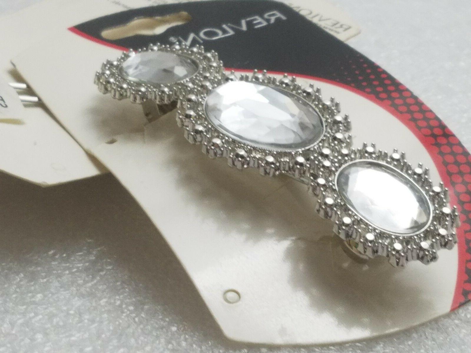 Revlon Flower Rhinestone Stone Clip Metal