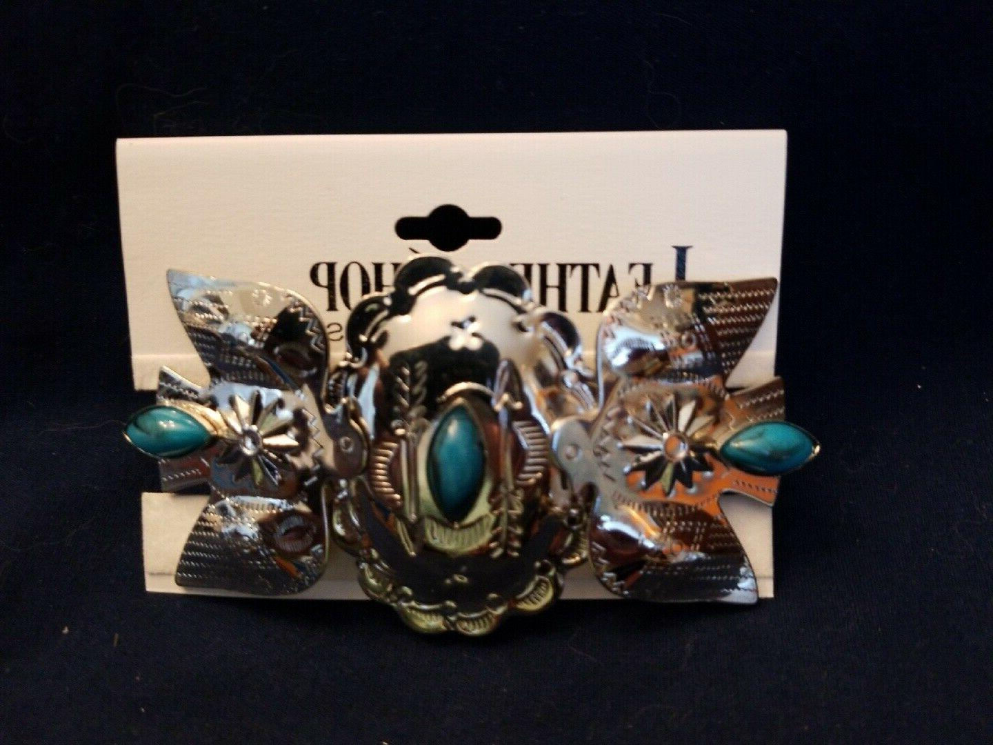 barrette hair clip silver turquoise 3 5