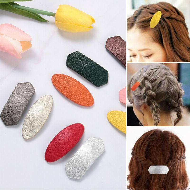 barrettes candy color geometric hair accessories leather
