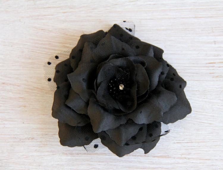 black flower hair clip day of dead