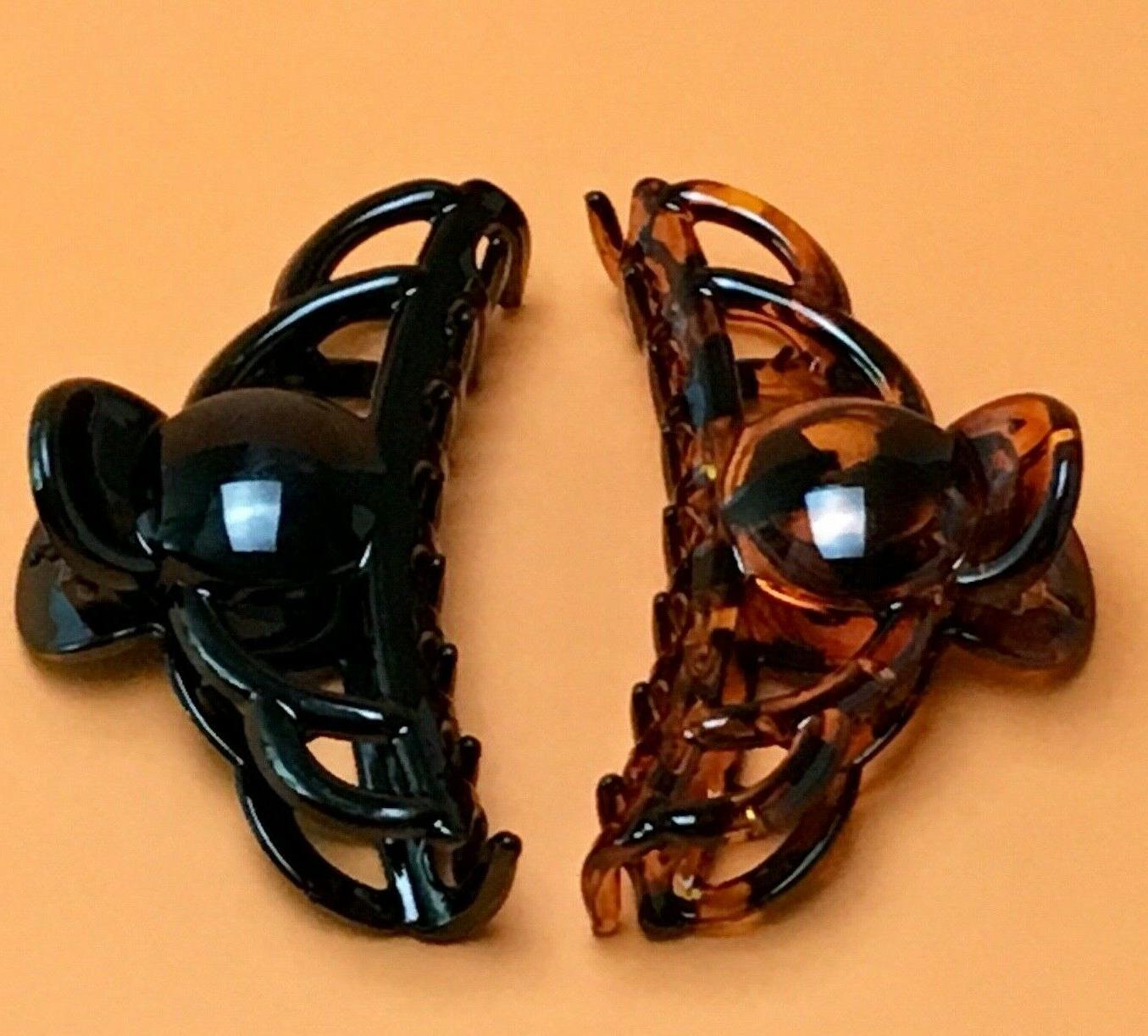 BLACK Medium Large Hair Jaw Clip Claw Clamp 4 inches 2 Pack NEW