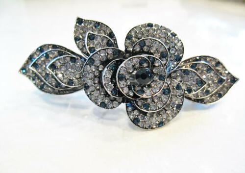Blue barrette clip bridal clip bar