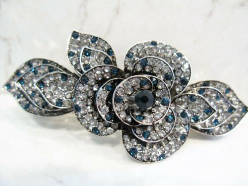 Blue crystal hair clip bridal bridal barrette hair bar