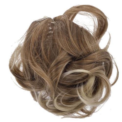 brown blonde faux hair extension cheerleader ponytail