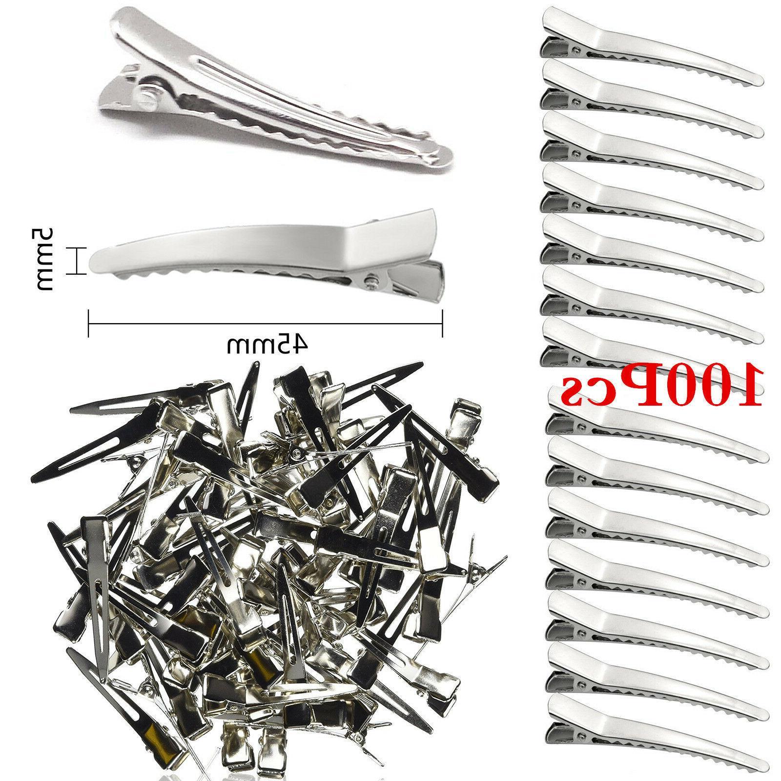 Bulk 100 Pcs 45mm Curved Alligator Hair Clips Silver Metal C