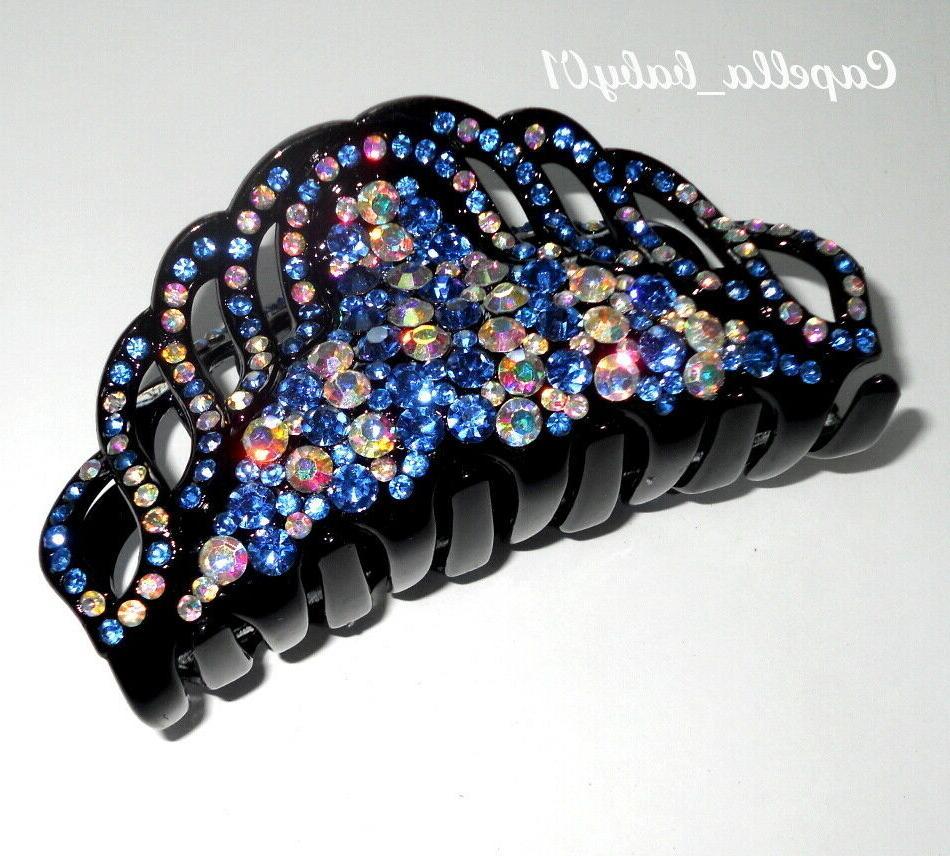 Capella *USA* Blue Rhinestones Large Hair Clip Claw CD6