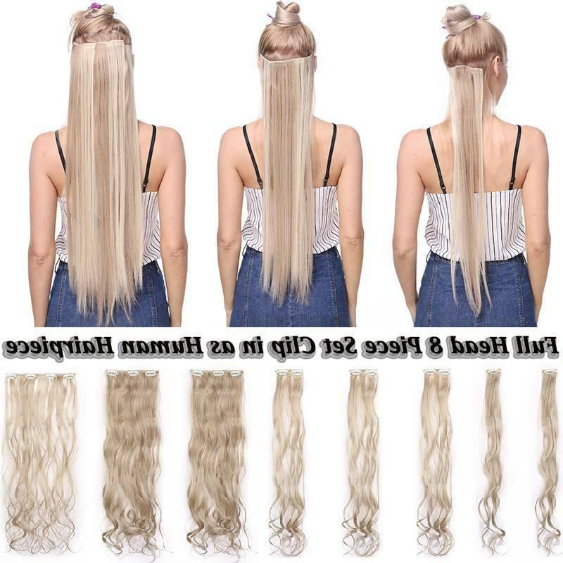 US 8 Pieces Clip In Hair Extensions Head Natural Human Real