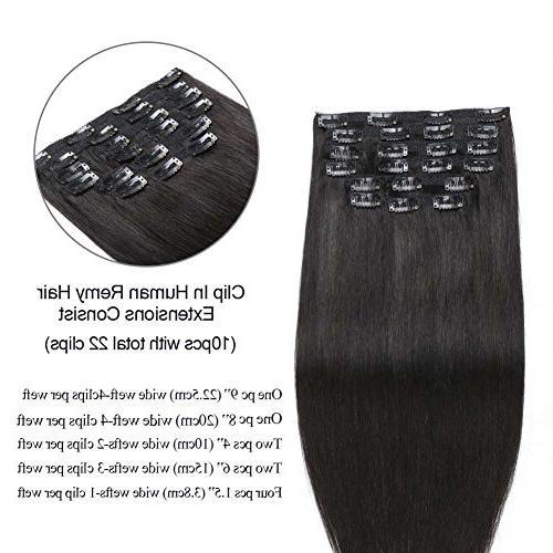 "Natural Hair Hair 14"" 10 pcs Unprocessed Natural Black 100 Human Hair Black Women"