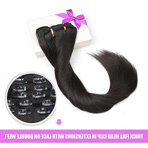 "Natural Color in Hair Extensions, 14"" 110gram Unprocessed Black 100 Human Black Women"