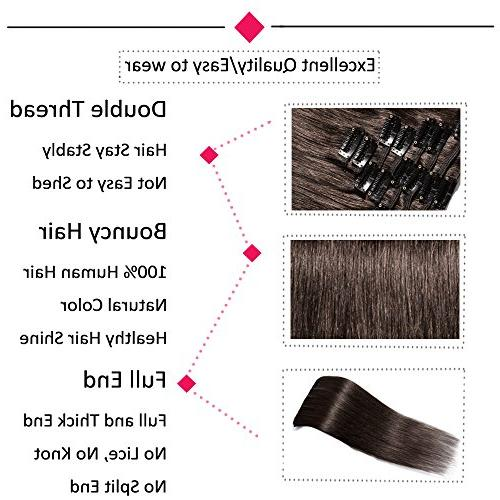 Clip in Extensions Remy Human Standard Weft 20 70g Clips Thick Straight Hair Beauty #2 Brown