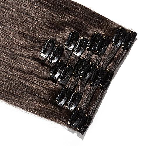 Clip in Extensions Remy Standard 70g 8 Pcs Clips Silky Straight Hair Women Beauty #2 Brown