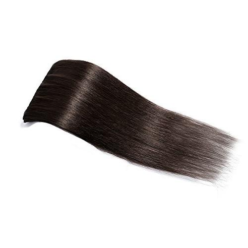 Clip in on Extensions Remy Hair Standard 70g Pcs 18 Clips Thick Soft Silky Straight Beauty #2 Dark