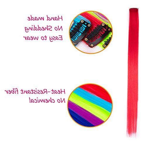 Colored Clip in Extensions For Kids Colors Highlights Synthetic Extensions