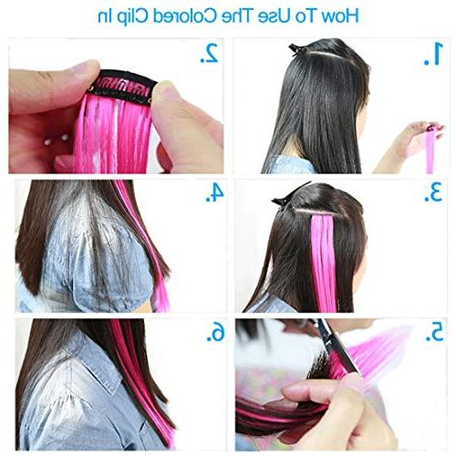 Colored Kids Colors Party Highlights Hairpieces Synthetic Extensions