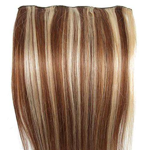 "Beauty7 15"" 22"" Clip Real Hair Extensions Straight #6/613 Medium"