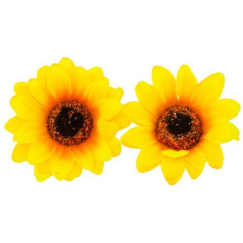 Lux Accessories Coachella Sunflower Fabric Flower Hair Clip