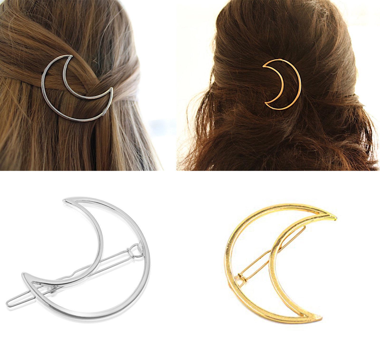 crescent moon goddess hair clip large gold