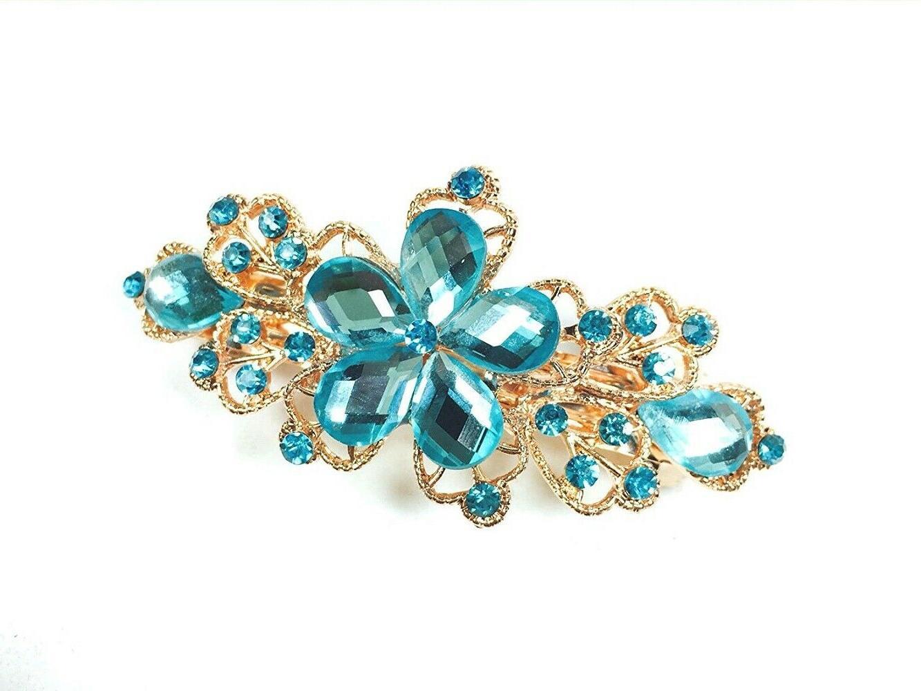 crystal blue and gold hair clip hair