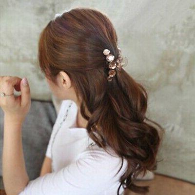 Crystal Hair Claws Resin Crystal Rhinestone Pearl Hair Clip