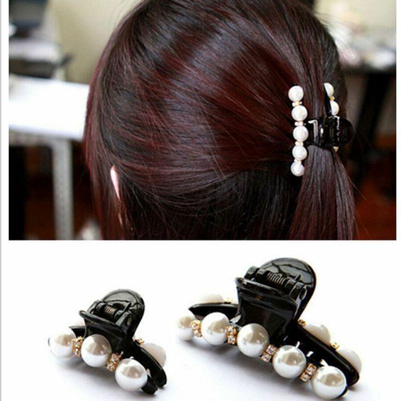 Crystal Rhinestone Hair Pearl Pearl Crab Plastic