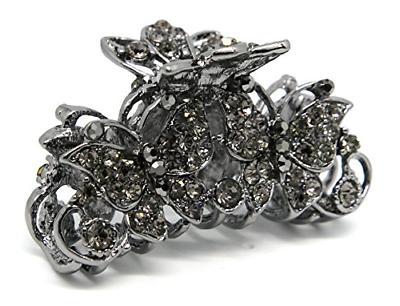 Beautyxyz crystal rhinestones metal clip jaw size