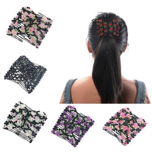Double Hair Comb Magic Beads Elasticity Clip Stretchy Hair C