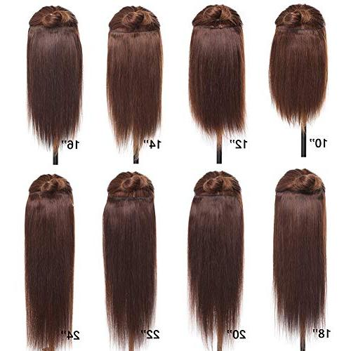 "Double 100% Human in Extensions #1B 10''-22'' Grade 7A Quality Full Head Thickened Long Short 18clips for Women 12"" / 110g"
