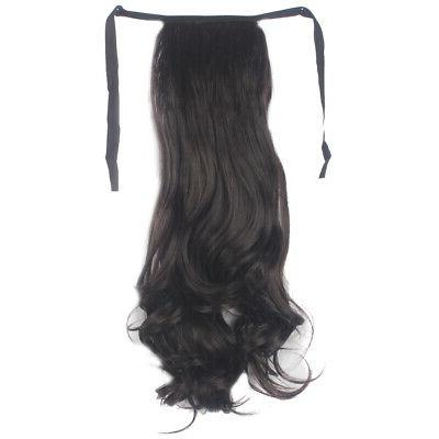 Drawstring Hairpiece Clip Long Wavy Tail